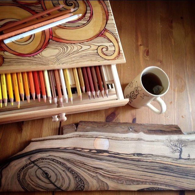 Set To Work Some Colour Onto This Wood Burning Pyrography Art Pencil